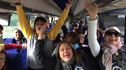 People on a bus traveling to Glenwood Inn and Conference Center in the Poconos